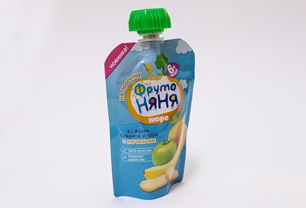 Детское Пюре Фрутоняня яблоко банан груша с печеньем  м/уп 90г с 6м