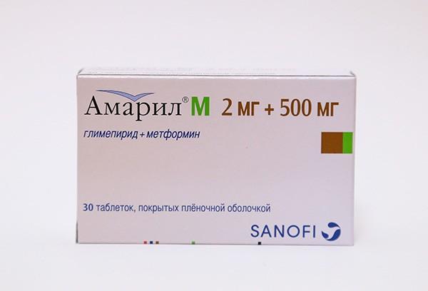 Амарил М 2мг+500мг тбл п/п об 30