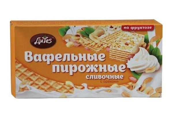 ДП Пирожные вафельные ДиYes Сливочные с орехами на фруктозе 190г