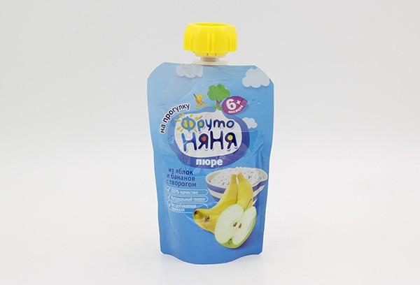 Детское Пюре Фрутоняня ябл банан творог м/уп 90г с 6м