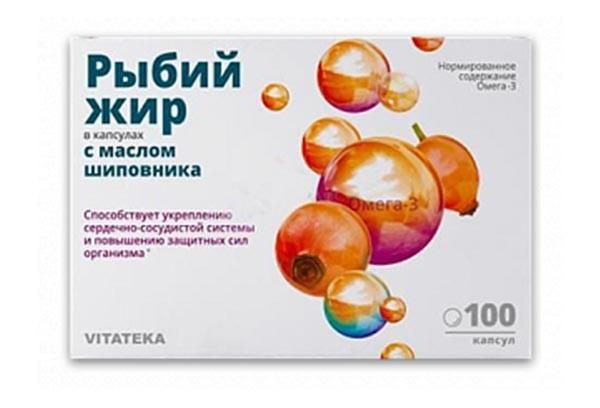 Витатека Рыбий жир с маслом шиповника капс 100 БАД