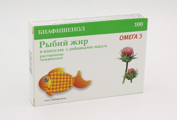 Рыбий жир Биафишенол с маслом расторопши и тыквы капс 100БАД