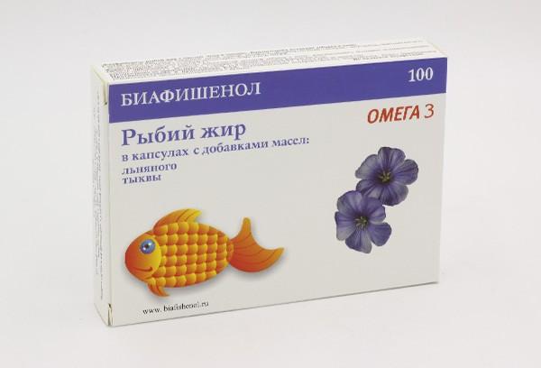 Рыбий жир Биафишенол с маслом льна и тыквы капс 100БАД